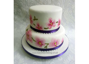 Hand Painted 2-tier Orchid Cak