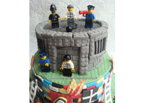 Fire and Police Station Cake