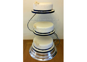 Ivory and Navy Blue Stencilled