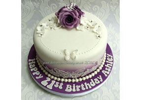 Lilac Rose and Butterfly Lace
