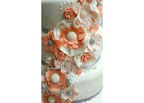Coral Flower 4-tier Wedding Ca