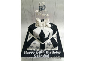 Black and White Present Cake