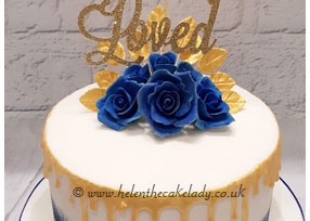 Blue Rose and Gold Drip Cake