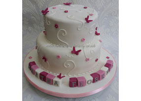 Pink Butterfly Christening Cak