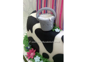 Cow and Flowers Cake
